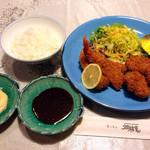 キッチン畑祚恵 - 海老フライとヒレカツ、ライス