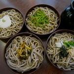 松本蕎麦店 - 四味割子そば1100円 (山かけ、山菜、抹茶)