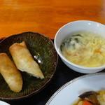 26547665 - 春巻き&玉子スープ