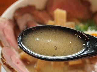俺のラーメン あっぱれ屋 - 【1回目訪問】こくまろ塩チャーシューメン(スープ)