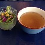 26565157 - オムレツランチのサラダ、スープ