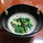 烏山 - お通し 山菜と青菜のごま和え