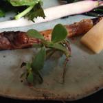 ラ・ボンヌターブル - 2014/4 アミューズ①エコファーム浅野から届いた野菜を使ったサラダ