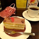 珈琲の辞書 第二章 - ケーキセット:紅茶のシフォンケーキと珈琲:650円