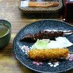 山川屋 - 串カツ 80円 どて 80円 お茶まで出してもらいました。