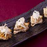 宮崎料理 万作 - 福ちゃんポークの炙り~ネギ味噌のせ~
