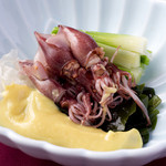 宮崎料理 万作 - ほたるいかの辛子酢味噌