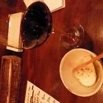 26585057 - ワインで乾杯☆つきだしは、洋風のお豆腐…??