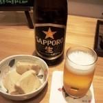 和季 - 中瓶ビール+お通し