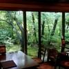 自家焙煎珈琲 森の響 - 内観写真:目の前には緑が迫る癒しの空間