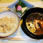 祇園畑中 - 松茸ご飯、留椀(赤だし、伊勢えび)