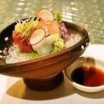 日本料理 オカモト - 2014.4 お造り(紋甲イカ、初ガツオ、天然鯛)