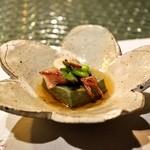日本料理 オカモト - 料理写真:2014.4 ホタルイカとヨモギ豆腐