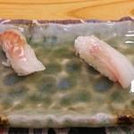 すし追 - 真鯛の塩、真鯛の昆布〆