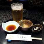 かしま - 生ビールと付き出し(切干大根)