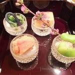 壽山 - 2014/04 八寸 湯葉やそらまめ、菜の花などなどどれも旨
