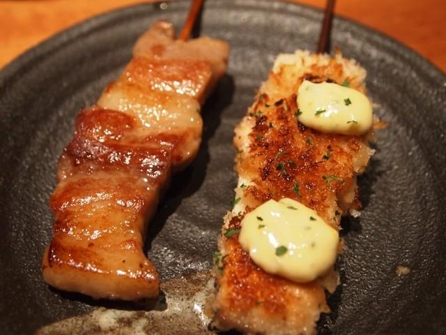 九志焼亭 グランフロント大阪店 - 鹿児島豚バラ漬け焼 、サーモンとエリンギ