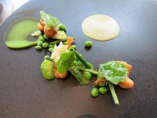 エスキス - オードブル グルヌイユのフリット アスパラガスのソバージュ 豆のピュレとオゼイユのソース