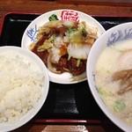 中華 珍来麺工房 - 角煮定食+豚骨塩ラーメン