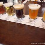 南信州ビール直営レストラン 味わい工房 - アンバーエール、ゴールデンエール、デュンケルヴァイツェン、季節限定のIPA、アップルホップ王林バージョン 飲み比べセット