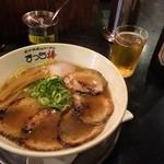 まっち棒 - 和歌山らーめん源味 (もとあじ) 700円+ちゃーしゅー270円と瓶ビール (アサヒスーパードライ) 540円