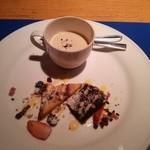 26718231 - コーヒーのブランマンジェ、チョコレートのブラウニー、フルーツケーキ