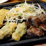 レストランさとう - 今月の限定ランチメニュー    (サイコロステーキと若どりの梅肉包み揚げ) 2