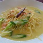 バンビーナ - 2014/04 サーモン・アスパラ・シャガイモのクリーミーペペロンスープ仕立て