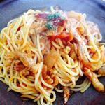 パスタアンドコーヒー・プレッツェモーロ - 阿寒ポークのパスタ(トマトソース・太麺)2014年4月29日