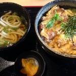 みくに食堂 - もち豚カツ丼+ミニうどんのセット