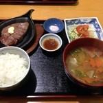 阿蘇山の幸 よろこび - タマグス御膳?この写真以外にもワラビやコンニャク、大根、おからの前菜が付いていました。メインに赤牛も入って1500円。だんご汁も付いて満足。