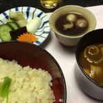 松田屋ホテル - 牛蒡ご飯、止め腕、香の物、いとこ煮
