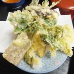 宮古そば 権三郎 - 旬の山菜!地元人しか知らない一品!盛り沢山です。