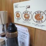 大阪難波 自由軒 - 卓上。壁には食べ方の説明