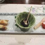 旬喜酒楽 はる田 - あん肝真薯チーズ焼、しったか煮、新生姜の三点盛り