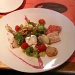 ナカムラヤ - イタリアンサラミ、甘鯛カルパッチョ、モッツァレラチーズ、煮こごり、                             鶏レバーのカナッペ