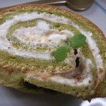 中里の庵 沾 - 抹茶といちじくのロールケーキ