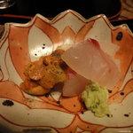 本草円山 - ウニと鯛のお刺身