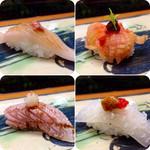 26863609 - 【ヒラメの鯛ワタ乗せ】様、【赤貝】様、【炙りブリのおろし乗せ】様、【イカのウニ梅肉】様!!