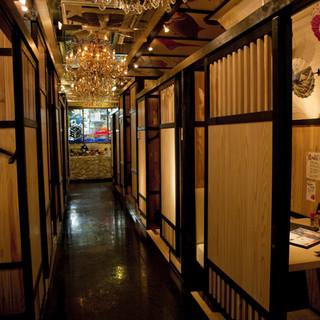 和と洋を組み合わせた個室空間
