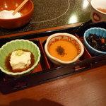 美々卯 京都伊勢丹店 - ゆば、餡かけ茶碗蒸し、ひじきの煮付け