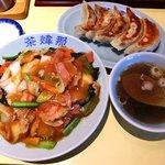 茶い那 - 料理写真:茶煒那 @佐野 五目うま煮ごはん 750円、手作り餃子 400円