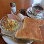 ナカヤマカフェ - バタートースト+サラダミニ+玉子+アメリカン