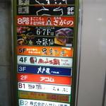 六歌仙 - エレベータ前のフロア案内板 まずは6階へ