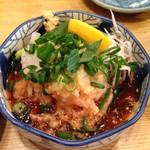 26981598 - 息子のチョイス まぐろのタタキ定食。¥800〜                       薬味は柚子の風味がした様な...σ^_^;                       味は間違い無く美味しかったですよ。