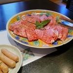 焼肉 充 - 三種盛り(特上ロース、特上カルビ、神戸牛)