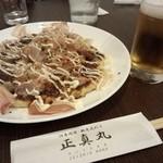 海鮮漁師料理 水軍 - お好み焼き600円 ビール中瓶550円