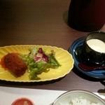 27015592 - 蟹クリームコロッケと茶碗蒸し