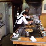 小磯 - 2014.5.5(月祝)11時半 初訪問 スジこんにゃくお好み焼き、エビ焼飯(^з^)-☆うまうま