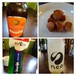 オオトリ酒店 - 先日伺った「杉能舎」のビールや福岡ゆかりの「官兵衛」日本酒などもありました。 友人が購入した「チョリソー」おすそわけで頂きましたが、美味しいですね。